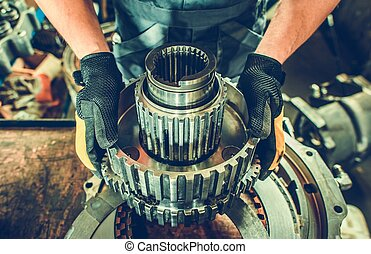 Heavy Duty Mechanic with Industrial Grade Vehicle Part in ...
