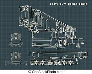 Heavy Duty Mobile Crane Drawings - Stylized Vector ...