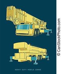 Heavy Duty Mobile Crane in Cartoon Style - Vector ...