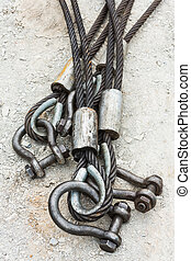 Heavy duty steel wire rope sling with safety anchor shackle...