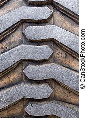 Heavy Duty Tire Tread - Rubber tire tread texture of a...