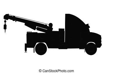 heavy duty tow truck - tow truck silhouette