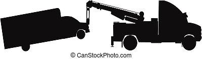 heavy duty tow truck - tow truck towing van in silhouette
