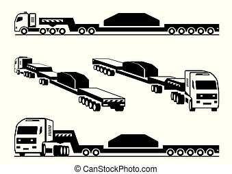 Heavy duty truck transports cargo - vector illustration