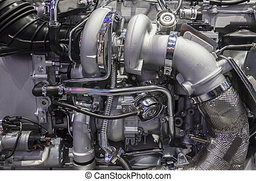 Heavy duty truck turbo diesel engine with two turbochargers