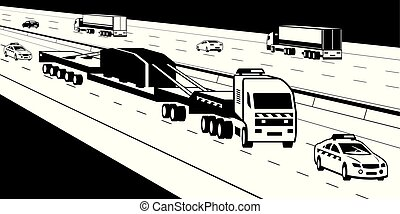 Heavy duty truck with pilot cars on highway - vector ...