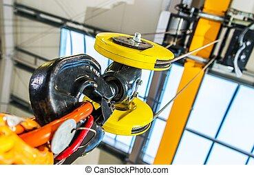 Heavy Duty Warehouse Crane Closeup Photo.