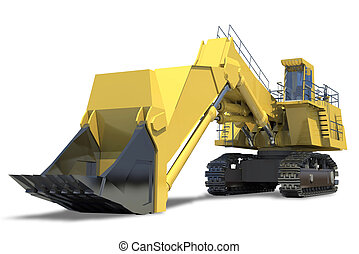 Heavy equipment. Excavator with bucket on a white background...