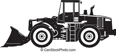 black and white vector illustration of heavy construction loader.