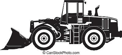 heavy equipment loader - black and white vector illustration...