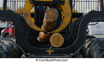 Heavy equipment loading with clipper cut logs. Large log...