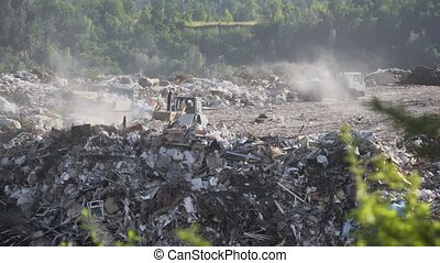 Heavy Equipment Moving Garbage at Municipal Dump - Heavy ...