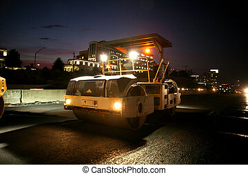 Heavy equipment - Road work equipment at night