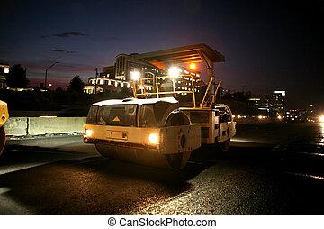 Heavy equipment - Road work equipment at night