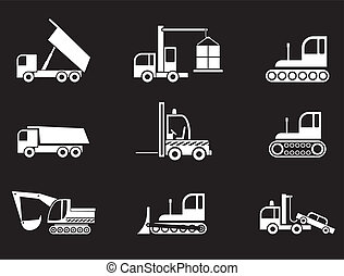 Heavy Equipment - vector icons - Heavy Machines - set of ...