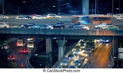 Heavy Evening Traffic On Highway - Overpass and underpass...