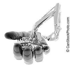 heavy excavator on the hand isolated on a white background
