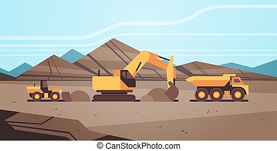 heavy excavator loading soil on dump truck professional equipment working on coal mine production mining transport concept opencast stone quarry background flat horizontal