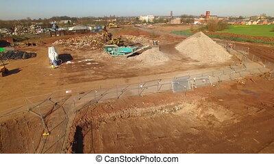 Heavy excavators on work