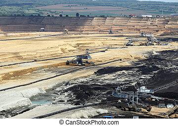 heavy excavators working on open pit coal mine