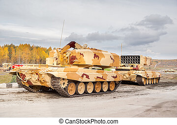 Heavy fire-throwing TOS-1A vehicles. Russia