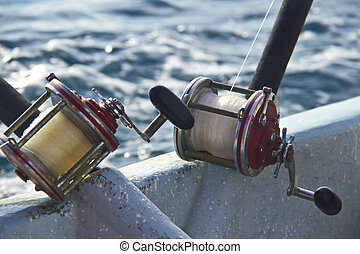 heavy fishing reels on the shipboard