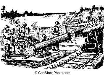 Heavy french mortar and soldiers