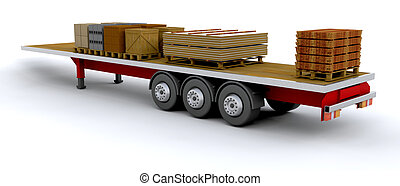 Heavy goods vehicle with load