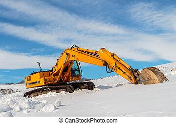 heavy illeték, winter., munka hely, felszerelés, szerkesztés, parkolt