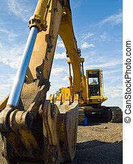 heavy illeték, worksite, felszerelés, szerkesztés, parkolt
