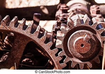 Heavy industrial gears - Close up shot of heavy duty...