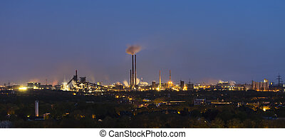 Heavy Industry At Night Panorama