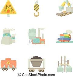 Heavy industry icons set, cartoon style