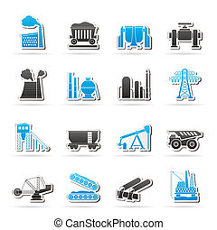 Heavy industry icons - vector icon set