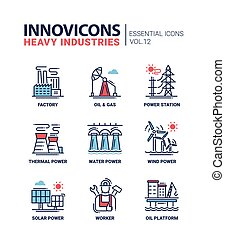 Heavy industry line design icons set - Set of modern vector...