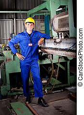 heavy industry mechanic portrait in factory
