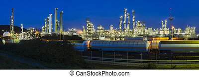 Heavy Industry Panorama At Night - Panoramic view of a...