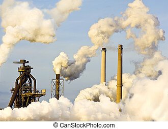 Heavy Industry - The top of a blast furnace and several...