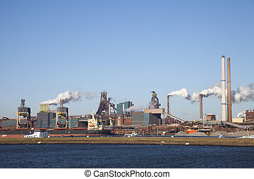Heavy industry - View with heavy industry over water