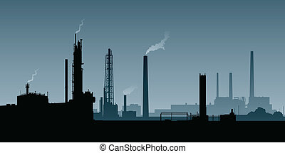 Heavy Industry Zone - Skyline silhouette of a zone of heavy...