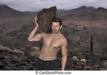 Heavy labor - Sexy muscular shirtless Caucasian working man...