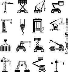 heavy lifting machines icons set in black.