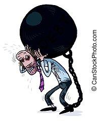Heavy load. DEBT. Vector illustration