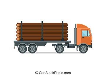 Heavy loaded logging timber truck vector. Industrial cargo...