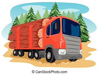 heavy loaded logging truck in forest