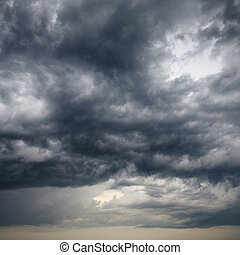 heavy low storm clouds in evening sky