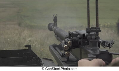 Heavy machine gun training. Slow motion - Large-caliber...