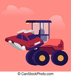Heavy Machine Loading Old Car Dump on Junkyard. Male Character Working on Scrapyard or Junk Yard Utilize Crashed Vehicles. Recycling Scrap Metal Industry or Business. Cartoon Vector Illustration