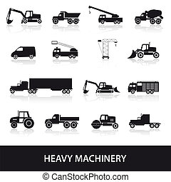 heavy machinery icons set eps10