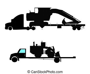 heavy machinery on trailers - silhouette of machinery on...